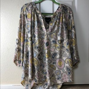 Cynthia Rowley cream paisley printed v-neck tunic